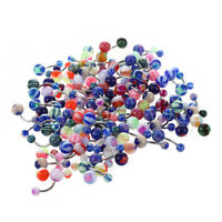 B6Y9 100 MIX Assorted Ball Belly Navel Barbell Bars Rings Body Piercing