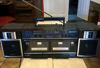 Sony CFS-W360 Double Cassette Boombox TranSound Tape Player Ghetto Blaster