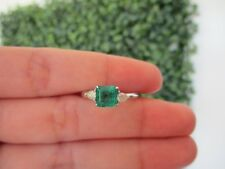 .20 Carat Diamond with Emerald White Gold Ring 18k R65 sep