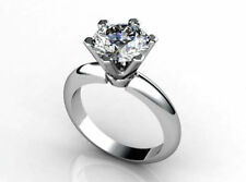 7 mm Off White Round Cut Moissanite Diamond Solitaire Ring 925 Sterling Silver