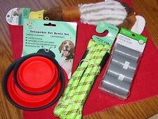 New listing Lot Dog Supplies Collapsible Bowls Leash Waste Bags Squeaky Toy New!