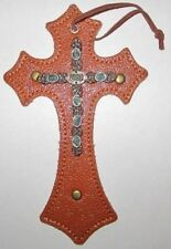 "Western Medium Cross - Faux Leather w/Conchos/Hanging - Type A - New 8.5""x5"""