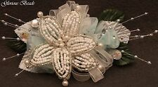 BEADED Lily Wrist Corsage & Boutonniere YOU PICK COLOR Wedding Prom Flowers Silk