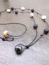 Skull Stone Lava Rock Hematite Bead Rope Cord Knot Necklace Accessory Men Women