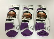 Spalding Full Cushion Basketball Socks Lot of 3 White w/ Purple Men's Size 13-15