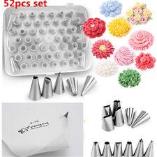 52 Stainless Steel Icing Nozzles Set Piping Bag Cake Decorating Baking Tool  UK