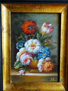 TABLEAU signé nature morte huile sur panneau bouquet de fleurs superbe top