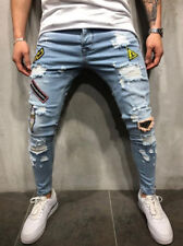 US Men Stretchy Ripped Skinny Biker Jeans Destroyed Taped Patch Slim Denim Pants