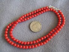 """17.2"""" Vintage Natural Italian Red Coral Bead Necklace S/S 13 gms 4.5mm"""