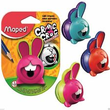 2 x Maped Bunny Croc Croc Pencil Sharpener Moving Teeth Cute Funny Nibble Rabbit