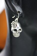 925 sterling silver earrings charm Skull Girl Flower pewter 1 pair