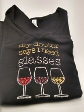 Chris's Stuff  Large Short sleeve Wine Glass T-shirt, with Rhinestone