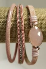 Shades of Pink Crystal Accented Magnetic Clasp Stacking Bracelet