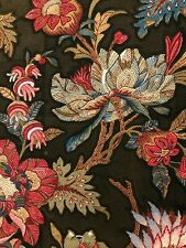 "Antique c. 1860-70 French printed Indienne cotton fabric (32"" x 16"")"