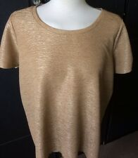 NEXT GOLD CRINKLE EFFCET ROUND NECK SHORT SLEEVED TOP ZIP DETAIL ON ARMS XMAS  L