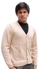 Mens Alpaca Wool Golf Cardigan Sweater V-Neck Button Down Coat Sz 2XL XXL Beige