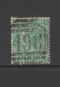 GB QV 1s. Green SG117 Plate 4 One Shilling BG Used 1867 Stamp 1/- Manchester 498