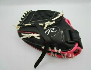 """Rawlings PL105PW 10.5"""" Left Hand Throw Youth Tee Ball Glove Black And Pink EUC"""