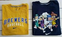 Milwaukee Brewers Men XXL TShirt Lot Nike Racing Sausage Navy Yellow Logo Swoosh