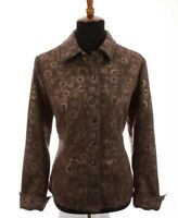Coldwater Creek Womens Jacket Blazer Metallic Bronze Geometic Brown Sz 8 Medium