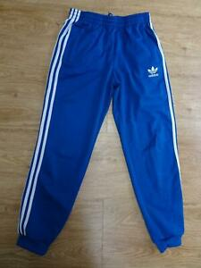 ADIDAS boys blue white tracksuit trousers AGE 12 - 13 YEARS EXCELLENT
