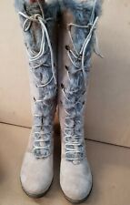 Ladies Winter High Cut Lace Up Wedge Boot faux fur beige colour stylish Us10