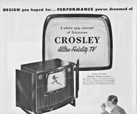 1949 Crosley Television Vintage Print Ad Ultra Fidelity TV A Whole New Concept
