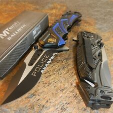 MTech BALLISTIC Assisted Opening Rescue POLICE BLACK Glass Breaker RESCUE Knife