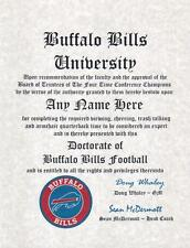 BUFFALO BILLS  FOOTBALL ~  NFL MAN CAVE ~ CERTIFICATE ~ DIPLOMA FUN  GIFT