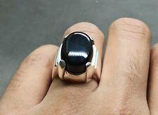 Mens Natural Yemeni Black Aqeeq Ring Sterling Silver 925 Handmade Agate Ring