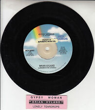 "BRIAN HYLAND  Gypsy Woman & Lonely Teardrops 7"" 45 rpm record + juke box strip"