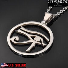VALYRIA Unisex Stainless Steel Eye of Horus Praying Lucky Pendant Necklace 22''