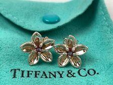 Tiffany & Co. Sterling Silver Flower-Form Stud Earrings w/ Garnet Centers