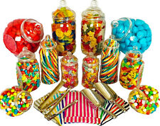 JUMBO Plastic Sweet Jars 12 jars 100 bags 2 Scoops 2 tongs Candy Buffet Wedding