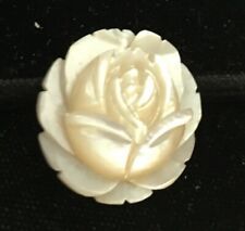 Vintage Carved Mother Of Pearl Rose Button