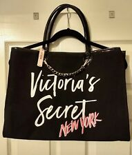 Victoria's Secret Black/White/Pink Large Bag Travel Tote 2018 NWT Cute!