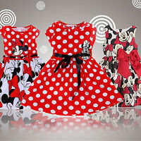 Girls Kid Minnie Mouse Cartoon Pleated Swing Dress Princess Party Bow Tutu Dress
