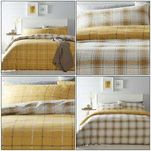 Ochre Duvet Covers Tartan Reversible Mustard Checked Quilt Cover Bedding Sets