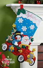 "Bucilla 18"" Christmas Felt Stocking Kit ""Holiday Drive""  Car Snowman Teddy Tree"