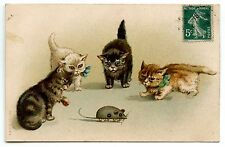 CHAT. CAT. KATZE .SOURIS MECANIQUE. MECHANICAL MOUSE.TOY. JOUET.