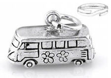 "SILVER ""HIPPIE GROOVY VAN/BUS""  CHARM WITH SPLIT RING"