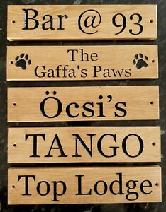 Personalised Carved  House Wooden Oak Sign Wood Engraved Name Plaque Outdoor