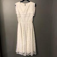 Gunne Sax Antique White Lace Prairie Dress Vintage 1970s CottageCore 9 NINE