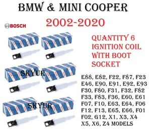 BMW and Mini Cooper Ignition Coil With Connector Boot Set of 6 BOSCH OEM