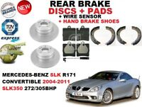 FOR MERCEDES SLK R171 CONVERTIBLE REAR BRAKE DISC SET + PAD KIT + SENSOR + SHOES