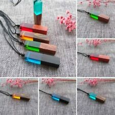 Jewelry Necklace Resin Wood Pendant Color Randomly Women Men Braided Rope Chain