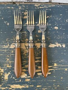 3 Pioneer Woman Cowgirl Lace Mushroom Brown Stainless Dinner Forks