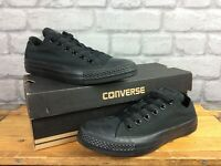 CONVERSE LADIES CHUCK TAYLOR ALL STAR OX MONO BLACK CANVAS TRAINERS T
