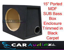 "15"" Inch 38cm Single Ported Black Carpeted Car Sub woofer MDF Box Bass Enclosure"