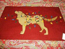 Pottery Barn Tangled Lights Labrador Crewel Embroidered Lumbar Pillow Cover